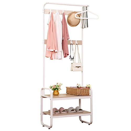 Renzhongren Entryway Lagerbankmantel Rack mit 6 Haken und 2-Tier Regale White Finish, YJG73182-2WH
