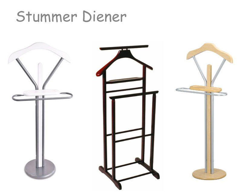 stummer diener aus metall oder holz. Black Bedroom Furniture Sets. Home Design Ideas